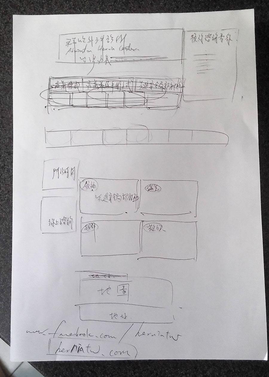手畫網站架構草圖