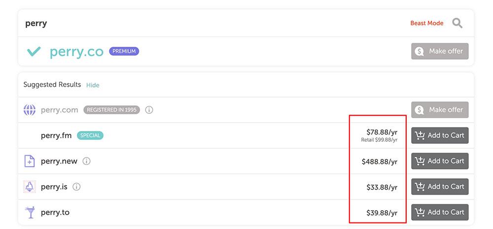 Namecheap 搜尋適合你的網址 網址價格