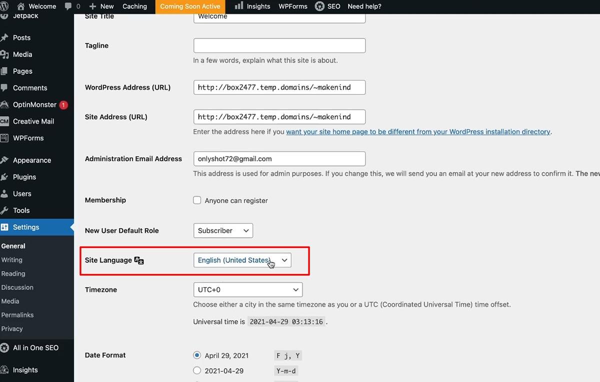架設 WordPress bluehost 主機 英文改成中文