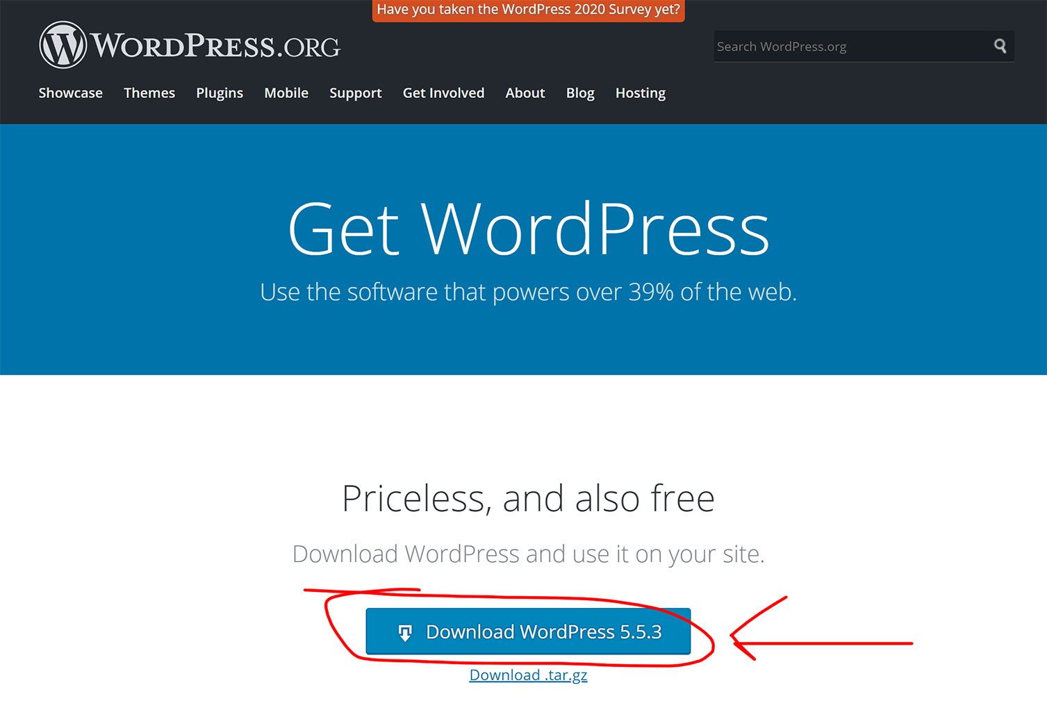 Wordpress org 下載 WP 主程式