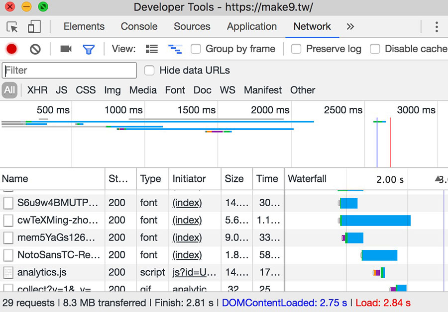 Chrome開發工具網站載入時間測試2