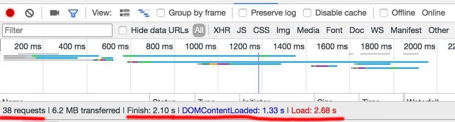 Chrome開發工具網站載入時間測試3