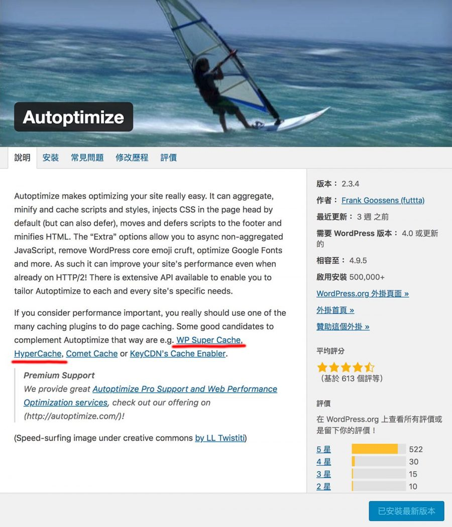 WordPress優化神器Autoptimize說明頁面